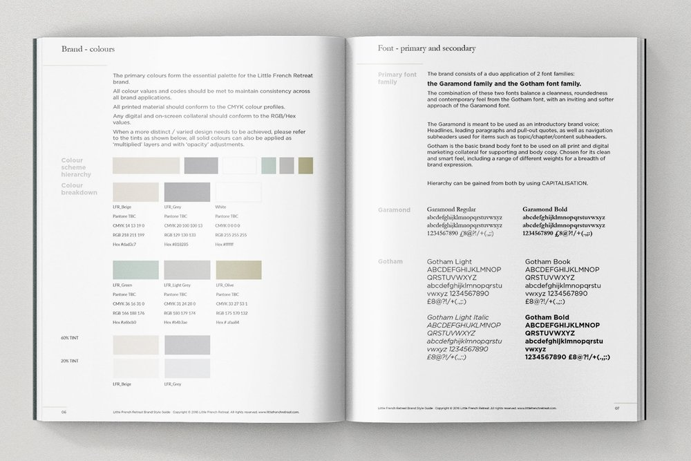 Little French Retreat Style guide excerpt: colour palette and font family